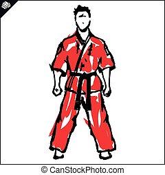 karate, vechter, poster