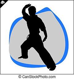 karate, vechter, scene., krijgshaftig, kata, arts.