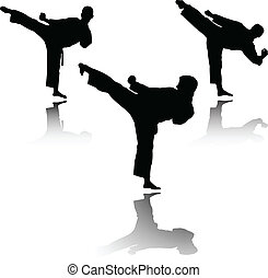 karate, vechter, vector, -