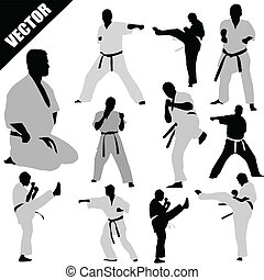 karate, vechters, silhouettes