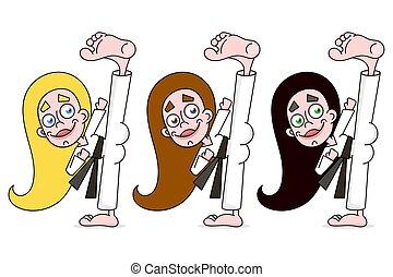 karate, vrouw, jonge, illustratie