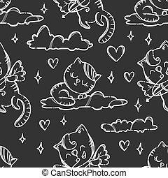 kat, seamless, model, vector, valentines dag, vrolijke , illustratie