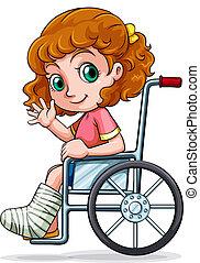 kaukasisch, wheelchair, meisje, zittende