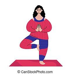 kaukasisch, yoga., jonge, pose., staande vrouw, boompje, beoefenen