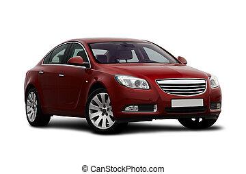kers, aanzicht, front-side, rode auto