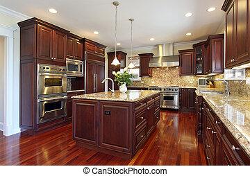 kers, hout, cabinetry, keuken