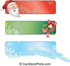kerstmis, banieren, drie