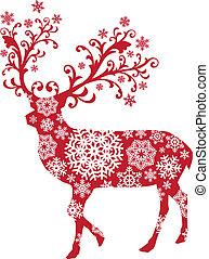 kerstmis, vector, hertje