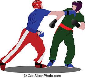 kickboxing., pos, sportsman