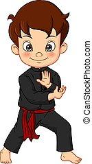 kimono, opleiding, spotprent, karate, vervelend, jongen
