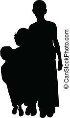 kinderen, arm, vector, silhouette
