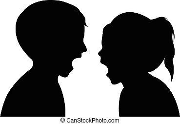 kinderen, gek, silhouette