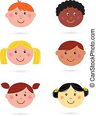 kinderen, multicultureel, hoofden, schattig