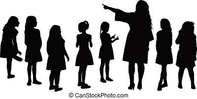 kinderen, samen, vector, silhouette