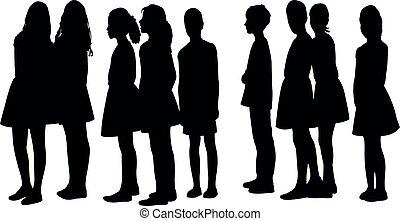 kinderen, silhouette, samen, vector