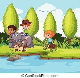 kinderen spelende, dier, natuur