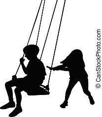 kinderen, vector, het slingeren, silhouette