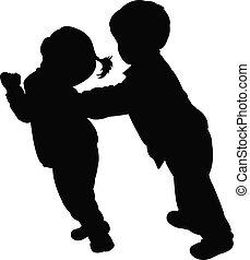 kinderen, vector, vecht, silhouette