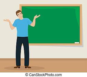 klaslokaal, plat, illustration., blackboard., vrijstaand, jonge, schouderbeweging, verwonderd, man