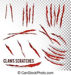 klauw, realistisch, illustratie, achtergrond., vector., krassen, transparant
