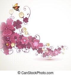 klavertje, abstract, achtergrond, viooltje