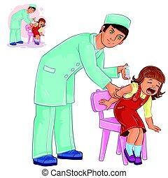 kleine, verpleegkundige, vector, inenting, meisje