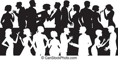 klesten, groep, mensen