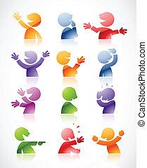 klesten, kleurrijke, karakters