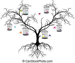 kleur, boompje, silhouette, vogels