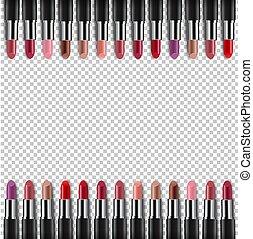 kleur, grens, lipsticks, achtergrond, transparant