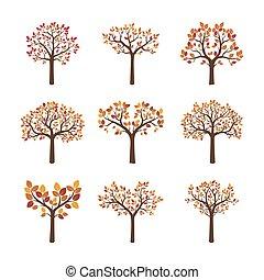 kleur, herfst, set, vector, bomen.