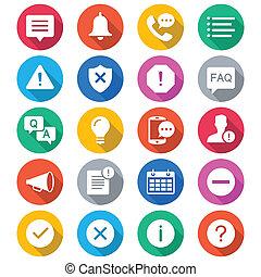 kleur, informatie, bericht, plat, iconen