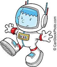 kleur, ruimtevaarder, jongen, vector, spotprent