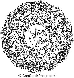 kleuren, macht, sierlijk, symbolen, pagina, centrum, mandala, themed, meisje