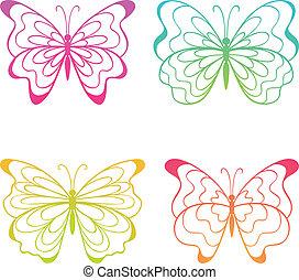 kleurrijke, butterflies.