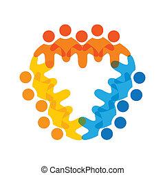 kleurrijke, concepten, gemeenschap, spelend, vriendschap, werknemer, collectief, vector, kinderen, &, werknemers, vakbonden, verscheidenheid, teams, vertegenwoordigt, delen, icons(signs)., arbeider, illustratie, graphic-, zoals, concept, enz.