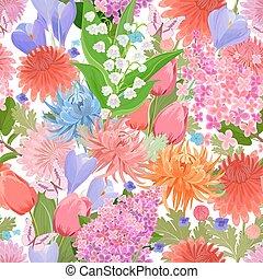 kleurrijke, f, lente, seamless, textuur, butterflies., bloemen