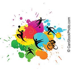 kleurrijke, -, illustratie, vector, achtergrond, sportende