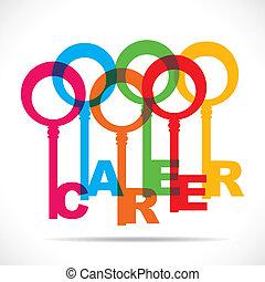 kleurrijke, maken, carrière, sleutels, groep