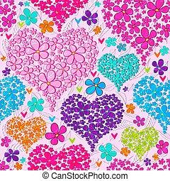 kleurrijke, model, seamless, valentijn, floral, hartjes