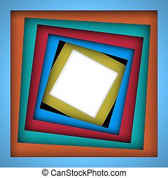 kleurrijke, plein, papier, achtergrond, frame