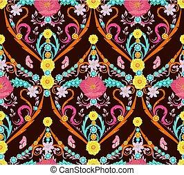 kleurrijke, seamless, zich verbeelden, textuur, arabesk, floral