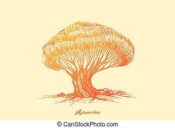 kleurrijke, stylized, gele, inscriptie, kleur, tijd, boompje, herfst, sinaasappel, helling, vuur