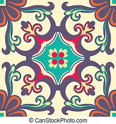 kleurrijke, tegels, ornament, seamless