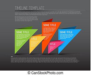 kleurrijke, tijdsverloop, donker, infographic, mal, rapport