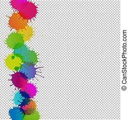 kleurrijke, vlek, grens, transparant, achtergrond
