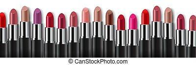 kleurrijke, witte , grens, lipsticks, achtergrond