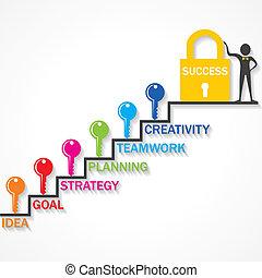 klimmen, op, tree, sleutels, succes