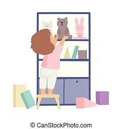 klusjes, schattig, hen, zijn, kast, jongen, op, illustratie, housework, vector, het putten, poetsen, speelgoed, thuis, geitje