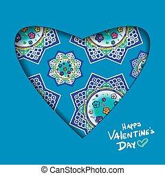 knippen, heart., valentine, abstract, illustratie, papier, vector, achtergrond, dag